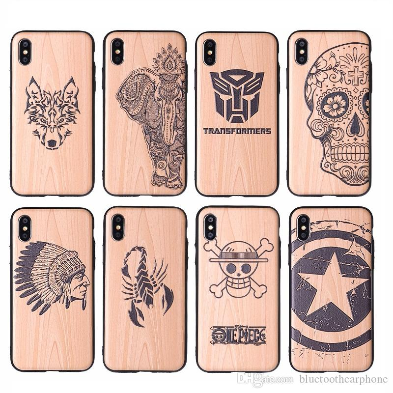Wood case for iPhone 6 6S 7P 7 8 8P X XR XS Max 10 TPU PC 2 in 1 carve wood case