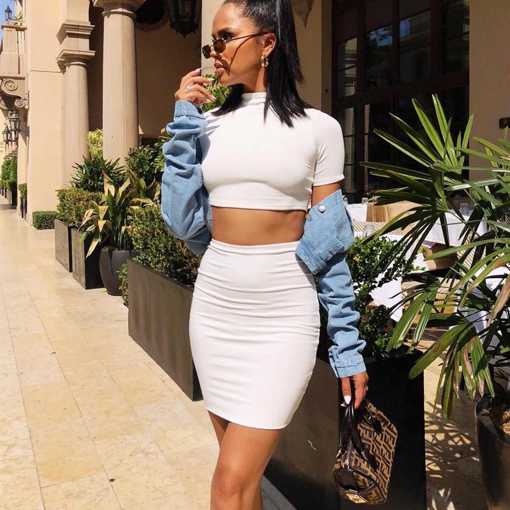 0e07ad535 Crop Top And High Waist Skirt 2 Piece Outfit
