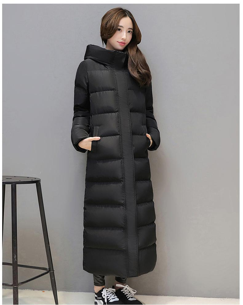 Women's super long down jacket Thick Black Red Hooded Keep warm Slim SH190926