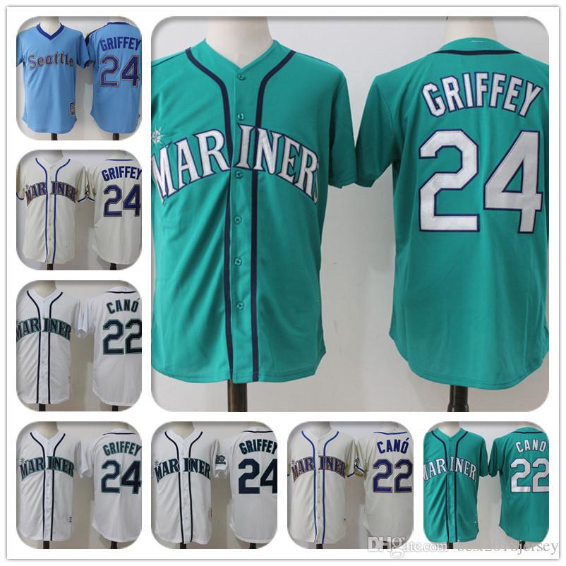 timeless design 0e1fc 54e5a Seattle Mariners 24 Ken Griffey Jr Jersey 22 Robinson Cano Jersey a2