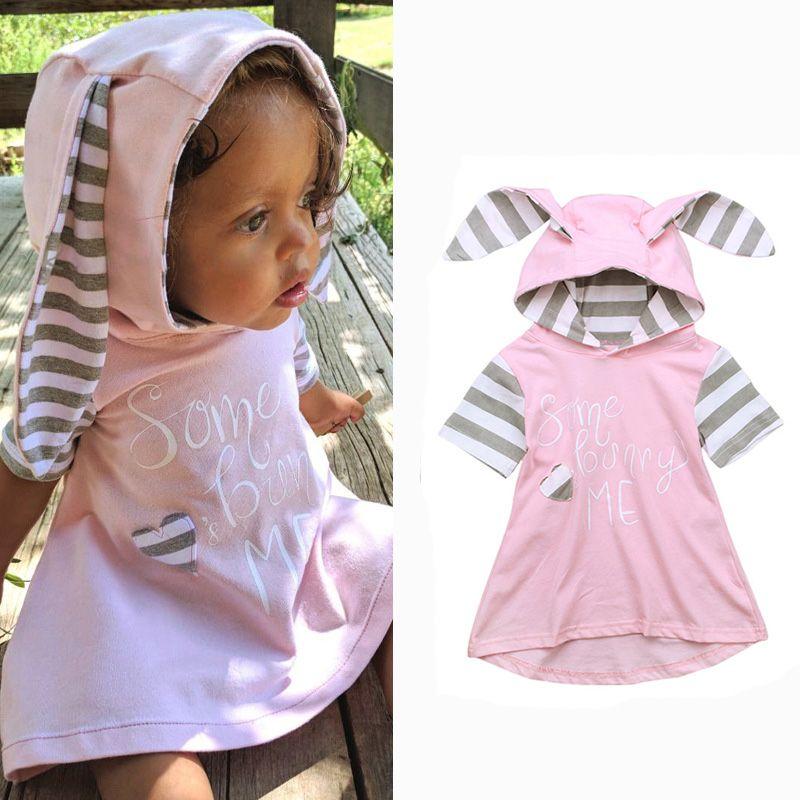 b600ab4af2e6 Baby Girls Coney Dress Easter Rabbit Ears Hooded Sweatshirt Dress ...