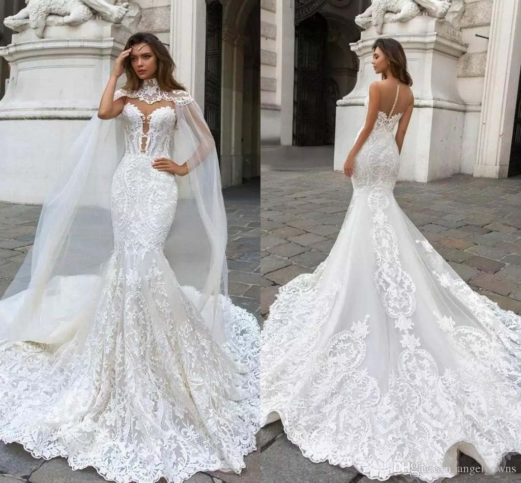 Sexy Dubai Arabic Mermaid Wedding Dresses With Cape Sleeves 2019 High Neck Long Train Bridal Gowns Lace Appliques Illusion Back Bride Dress