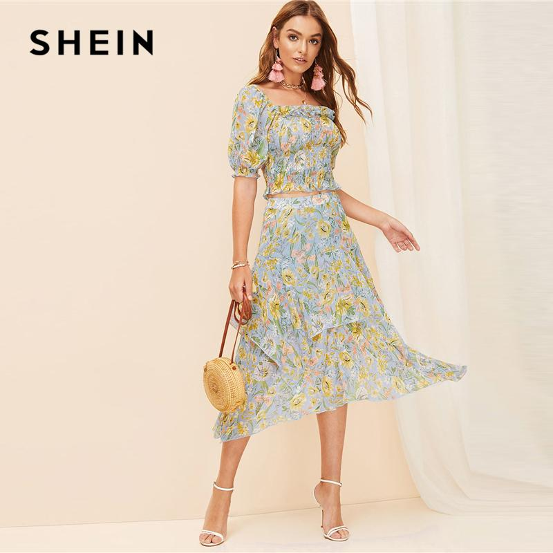 4eb4d74252e7 2019 SHEIN Boho Allover Botanical Print Ruffle Trim Shirred Crop Top Blouse  And Layered Asymmetrical Skirt Set Women Two Piece Set From Yanmai, ...