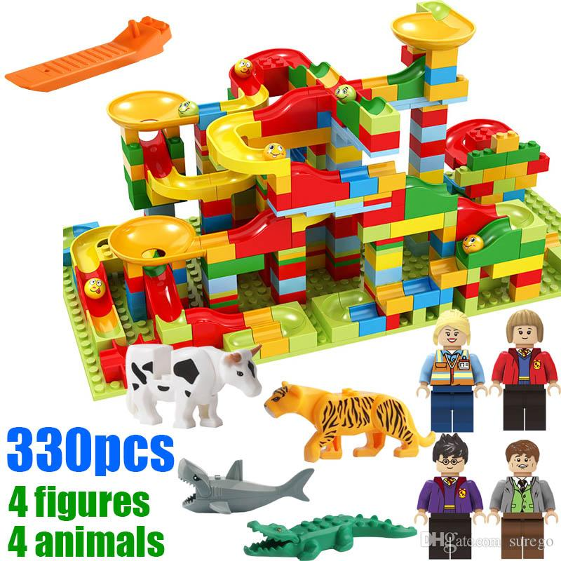 330pcs with gifts Marble Run Play Set Roller Coaster Small Size Puzzle Maze Race Track Game Toy Building Block Brick Toy for Kids Gift
