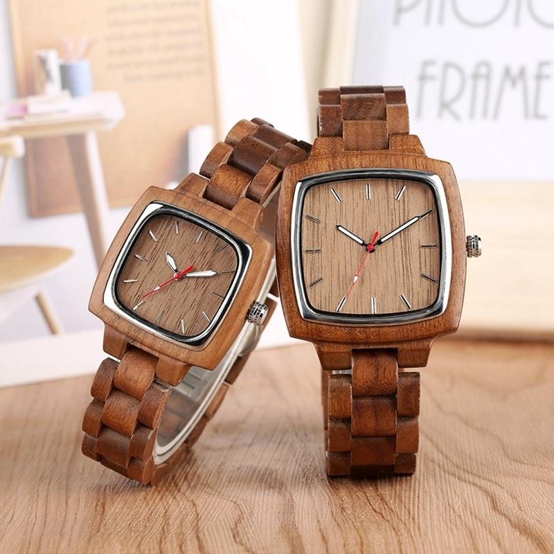 Unique Walnut Wooden Watches For Lovers Couple Men Watch Women Woody Band Reloj Hombre 2019 Clock Male Hours Top Souvenir Gifts Y19052103