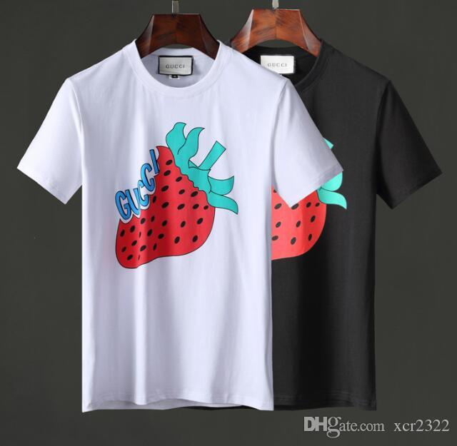 Summer Print Half Sleeved Europe Cotton Causal Anti-Wrinkle New Style Men's OFF T-shirt Crew Neck White Black Red#895