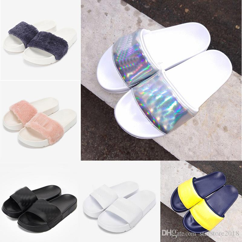 4c3f379c9 Cheap New Arrival Fur Brand Sandal Slippers Men Women Winter Sandals Black  White Anti-slipping Outdoor Soft Warm Shoes Beach Sandals