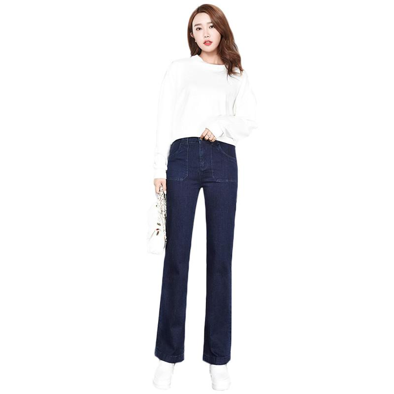 280d8be5493 Women Jeans Dark Blue Wide Leg Pants Jeans 2019 New Spring Autumn ...