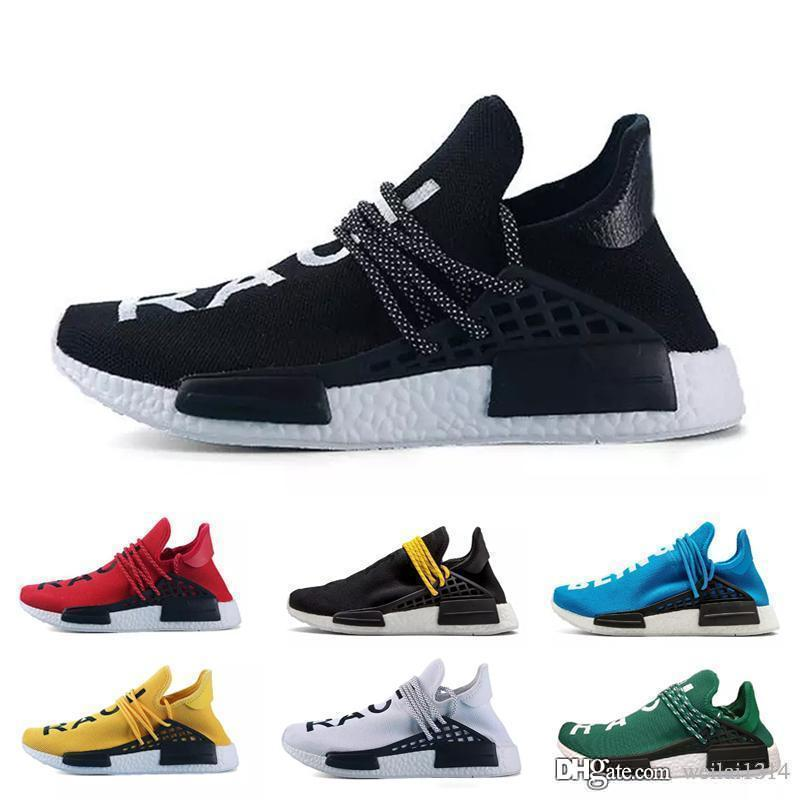 39370c636 Human Race Hu Trail Pharrell Williams Men Running Shoes Nerd Black Cream  Holi Mens Trainers Women Designer Sports Runner Sneakers Size 5 11 Slip On  Shoes ...