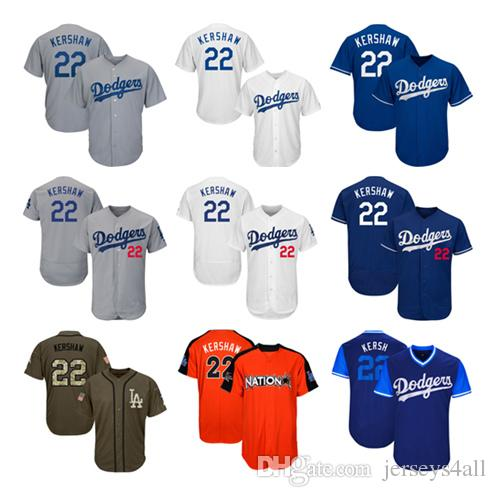 new arrival 8b509 16e2c Mens Los Angeles Dodgers Baseball Jerseys 22 Clayton Kershaw Jersey White  Blue Gray Grey Green Salute Players Weekend All Star Team Logo