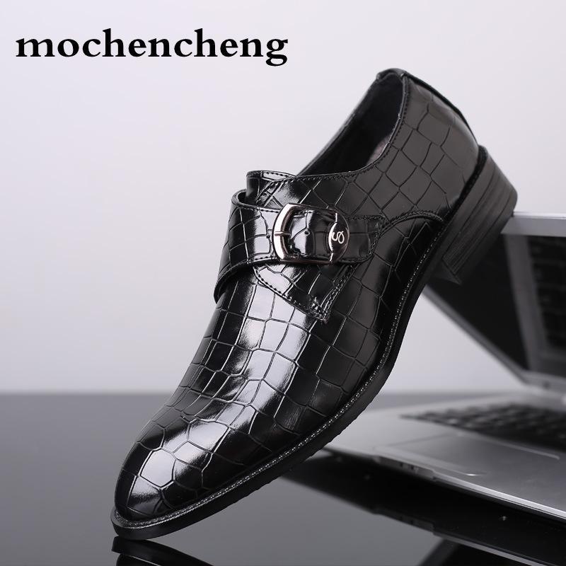 hot sale online b7c68 99aad 2019 taglia 48 scarpe da uomo con fibbia a punta appartamenti abito da  sposa scarpe da uomo in vera pelle da uomo in pelle oxford