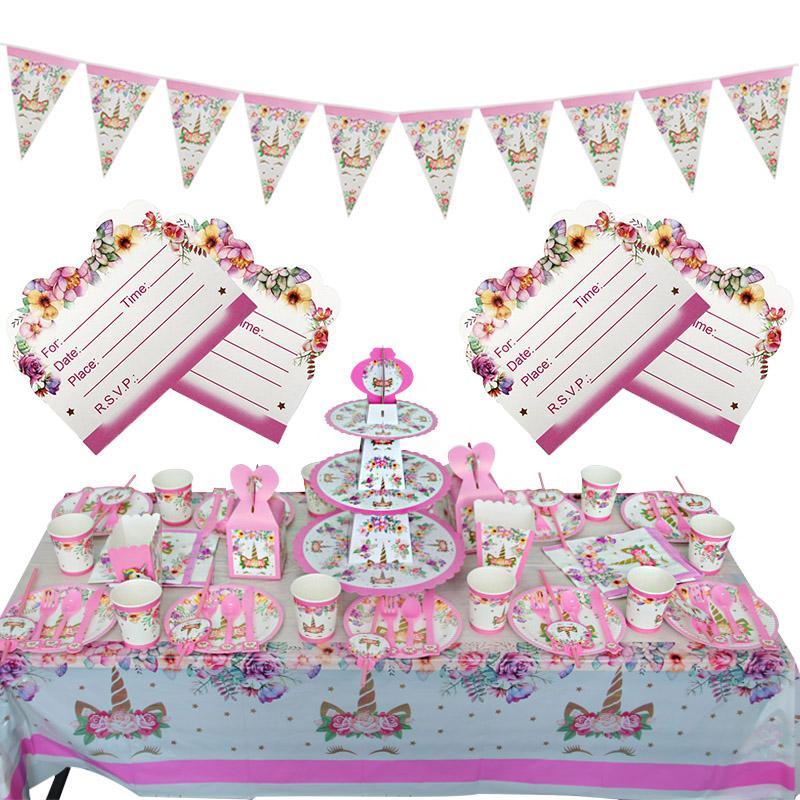 День Рождения Украшения Девушки Пригласительный Билет Баннер Одноразовая Посуда Комплект Розовый Единорог Тематические Праздничные Атрибуты
