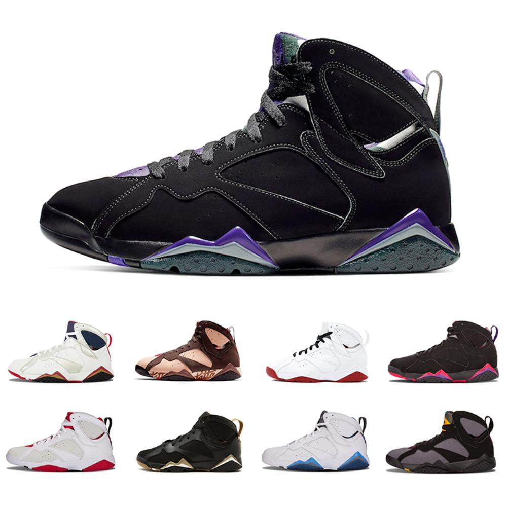 Hot 2019 Jumpman Patta X 7 Ray Allen Olympic 7s Men Basketball Shoes History Of Flight Hare Mens Raptor Sports Sneakers 7-13