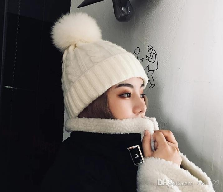 ab63d172906f8 Autumn And Winter Wool Hat Korean Version Of The Patch Thick Winter Warm  Ball Female Knitting Craft Baseball Cap Slouchy Beanie From Zwc222