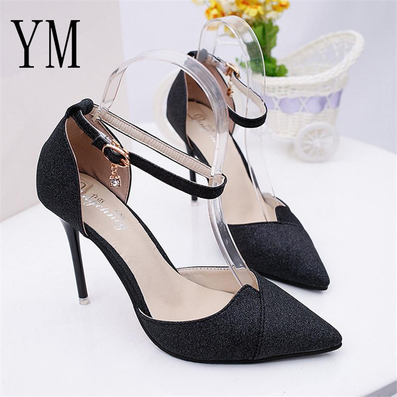 2019 Dress 2018 Summer High Heeled Shoes Female Fashion Sexy Hollow With  Sandals Korean Pointed Of The Thin Breathable Crystal Women Pumps Brown  Shoes ... 064f0f761028