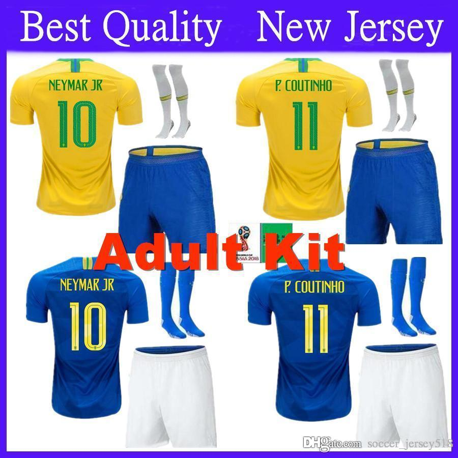 Adult Kit Brazil Soccer Jersey 2018 World Cup Set 10 NEYMAR JR ... ff7eed4e5