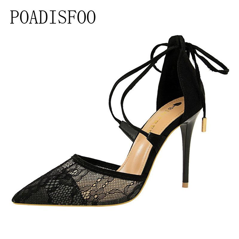 High-heeled Sandals With Thin Heel High Heel Shallow Mouth Pointed Mesh Lace Cross Ribbon And Hollow Sandals Women Shoes Shoes