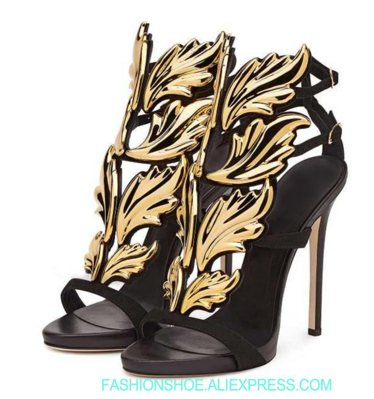 32861c95fd6a Hot Sell Women High Heel Sandals Gold Leaf Flame Gladiator Sandal Shoes  Party Dress Shoe Woman Patent Leather Leaf Sandals High Heel Shoes  Wholesale Shoes ...