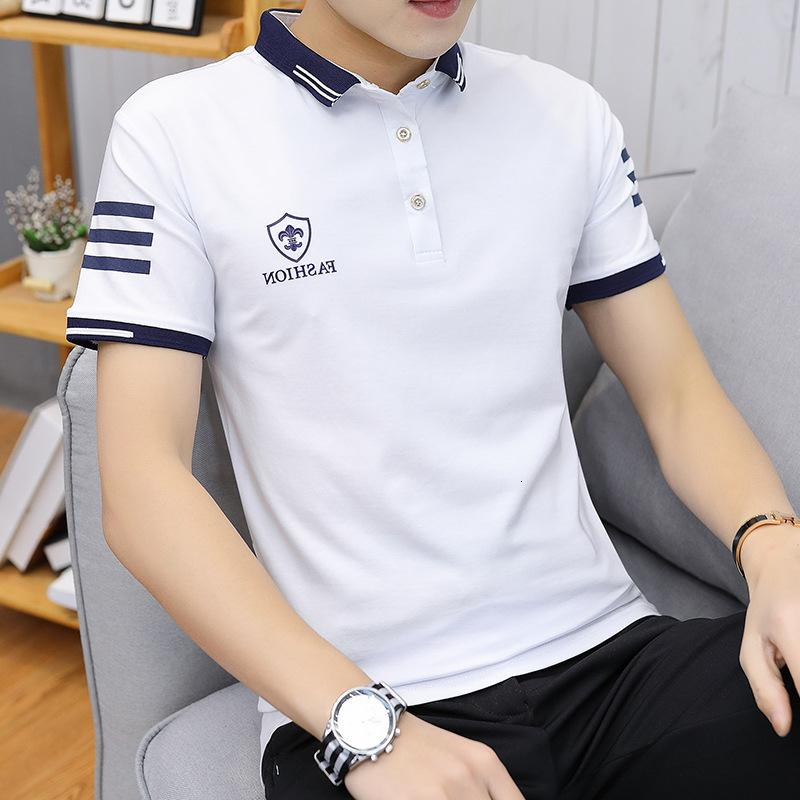 Kingpin 2019 Summer Wear Short Sleeve Stand Collar T Shirt Pure Color Wild Joker Leisure Time Straight Tube Type
