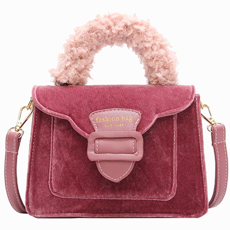European Style Women Tote Bag 2019 New Fashion Handbags High Quality Velvet  Square Bag Stitching Plush Portable Shoulder Bag Handbags On Sale Leather  Bags ... 1e4bdd071f647