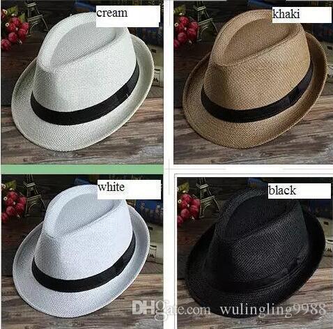 48e10169d63 2019 Men Women Panama Straw Hats Fedora Stingy Brim Hats Soft Fashion For  Unisex Summer Sun Beach Caps Linen Jazz Cap From Wulingling9988