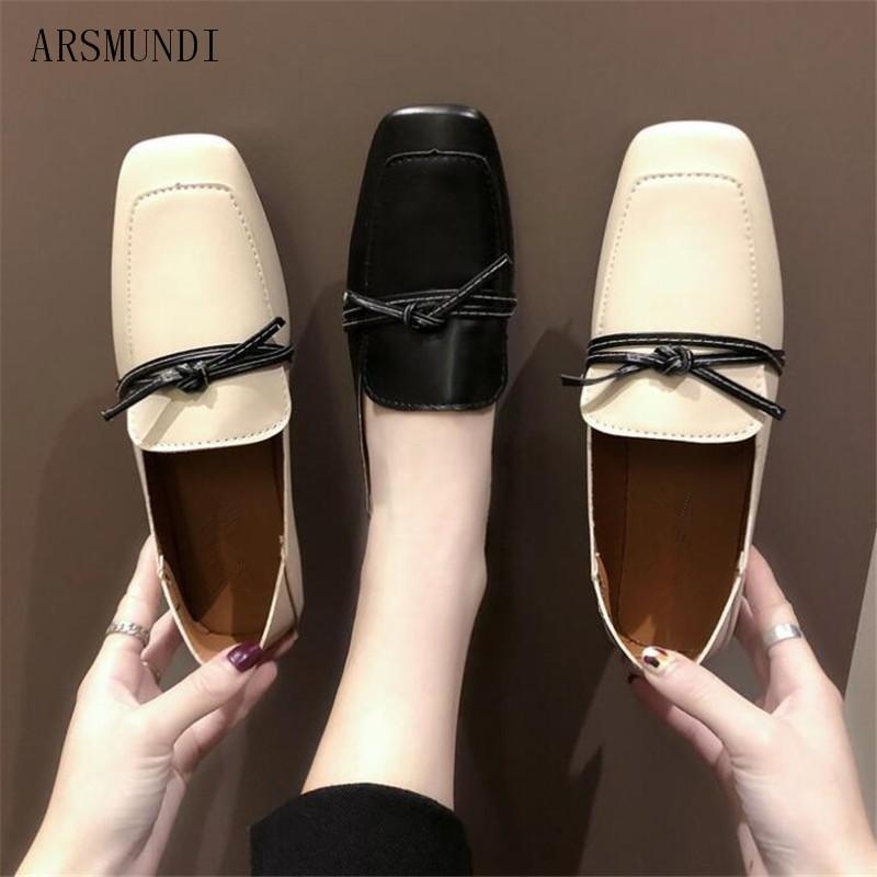 ef7ba98a0a1e ARSMUNDI 2019 Women flats PU bow slip on solid color flat shoes Square head  comfortable soft bottom low heel Women shoes M403