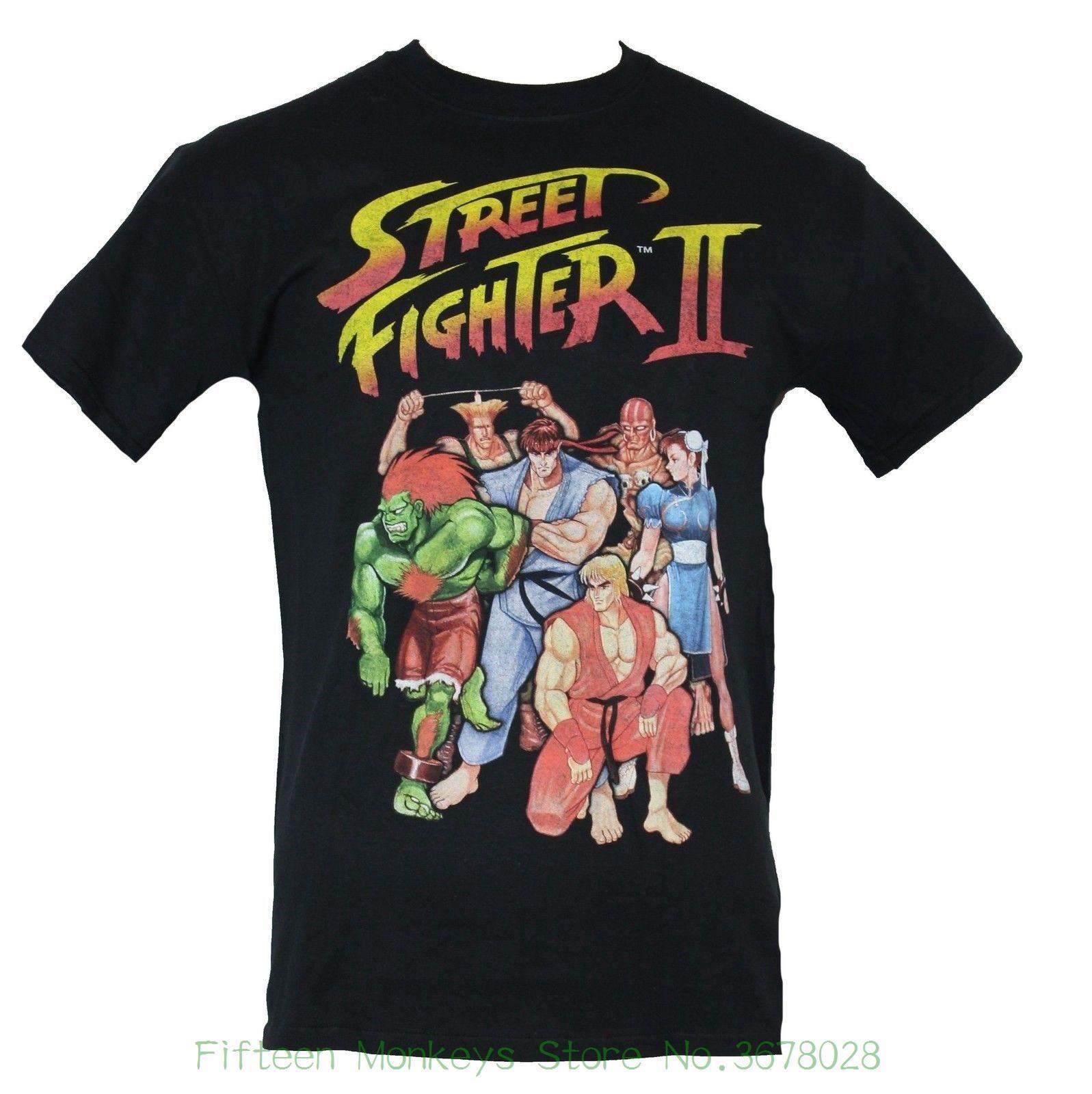 Compre 2018 Novo Homens De Manga Curta Camiseta Street Fighter Ii ... 0b807d5c21b41