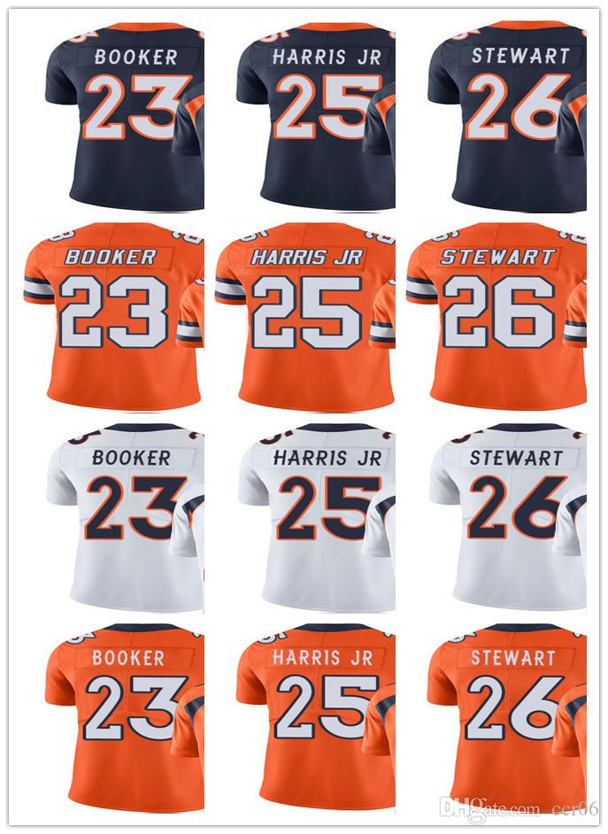Jeunesse Femmes Hommes Denver 23 Devontae Booker 25 Chris Harris Jr 26 Darian Stewart Blanc orange marine Broncos Custom Maillots de Football