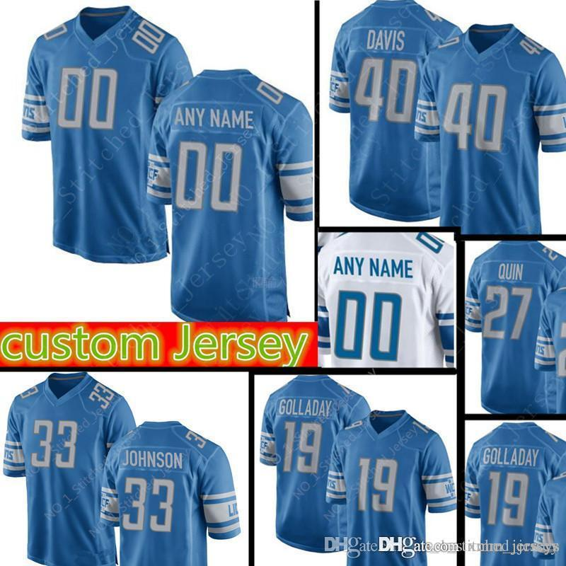 new arrival a353e aaf6b Detroit Lions 19 Kenny Golladay 33 Kerryon Johnson jersey #40 Jarrad Davis  11 Marvin Jones Jr 25 Riddick Jersey custom Football Jerseys