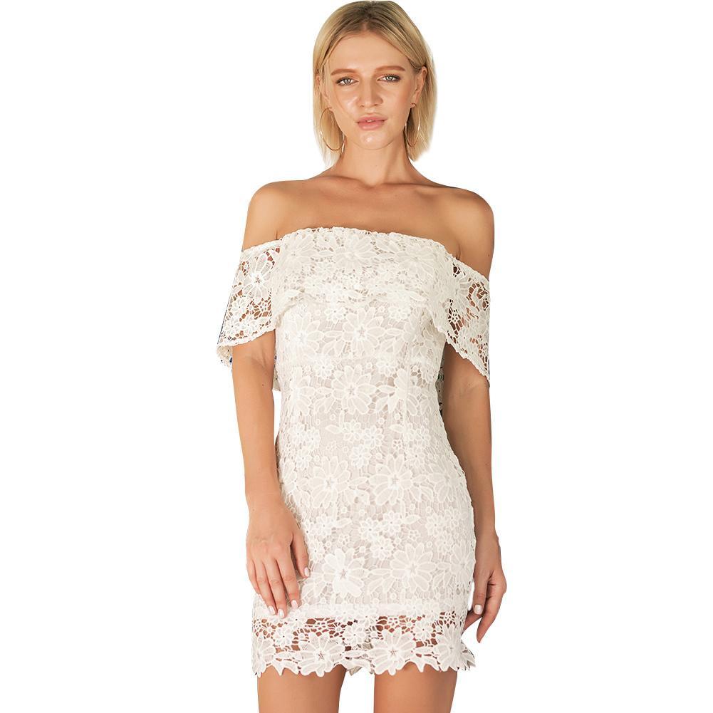 20d3549f162 2019 Sexy Off Shoulder Lace Dress Women Floral Crochet Lace Hollow Out  Pencil Dress Slim Elegant Ladies Summer Mini Dress White Long Short Dress  Cocktail ...