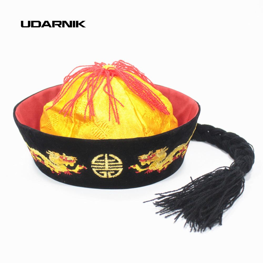 Acquista Cappello Cinese Draghi Dinastia Qing Imperatore Tang Costume Cap  Padrone Di Casa Cinese Tradizionale Cina Vintage Fancy Dress 904 093  D19011103 A