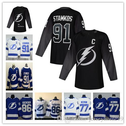 super popular 5da45 6594c 2019 Tampa Bay Lightning Jersey Steven Stamkos 86 Nikita Kucherov Tampa Bay  Lightning Black Hockey Jersey 77 Victor Hedman Jersey white blue