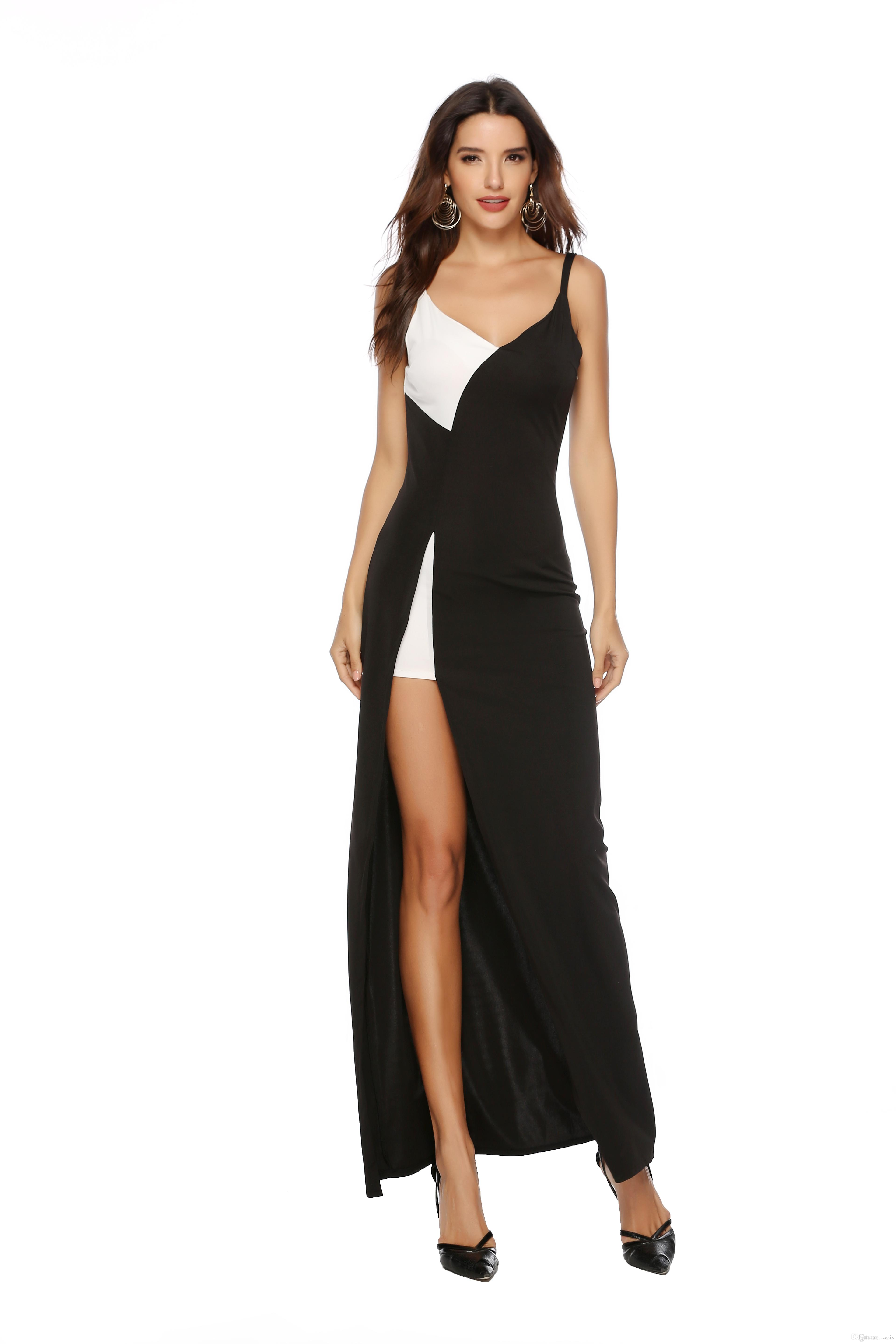 fed3d891fac42 2019 new elegant fashion sling Slim sexy V-neck black and white stitching  with split dress a variety of sizes available
