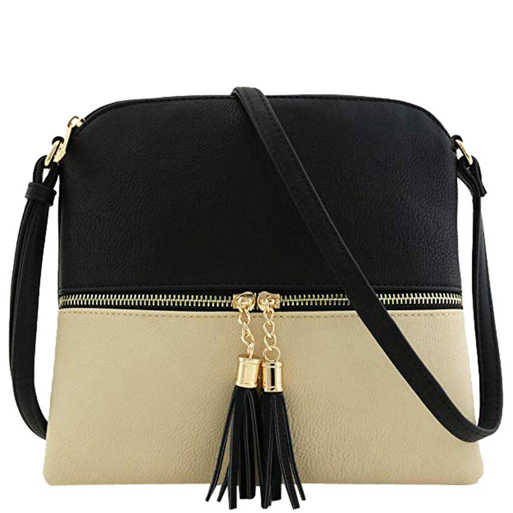 New Panelled Zipper Shoulder Bags Women Leather Tassel Crossbody Bag Hit  Color Shoulder Bags Messenger Bag YL Cheap Designer Handbags Black Handbags  From ... 4f3faba5d32e4