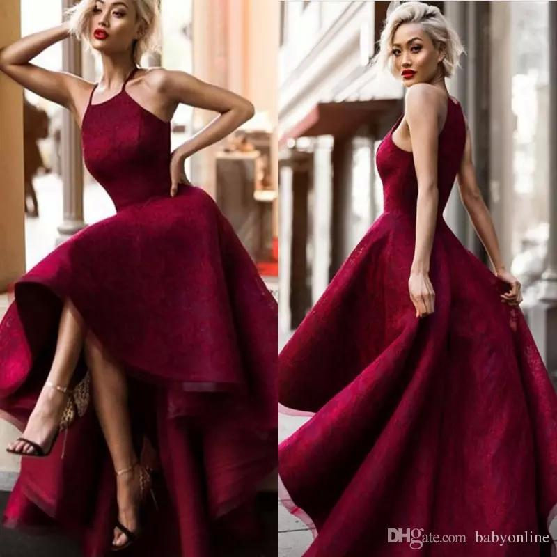 Special Occasion Burgundy Prom Evening Dresses Arabic Dubai A Line Halter Neck High Low Pageant Celebrity Gowns High Quality