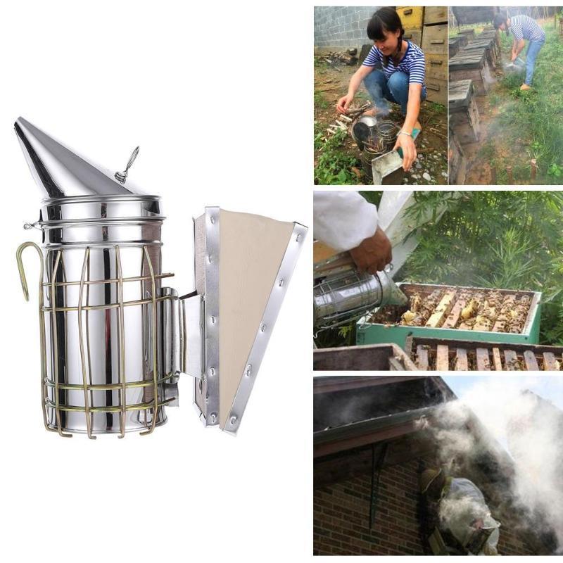Trousse d'émetteur de fumée d'abeille manuelle en acier inoxydable Outil d'apiculture Outil d'apiculture d'apiculture Fumeur d'abeille Apiculture