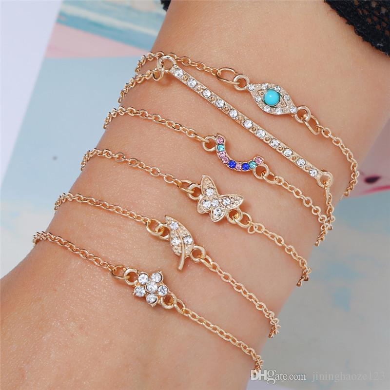 4pcs /set Bracelet pendant butterful eye leaf flower colorful diamond For Women Brand girlfriend boyfriend gift crafts dinner accessories