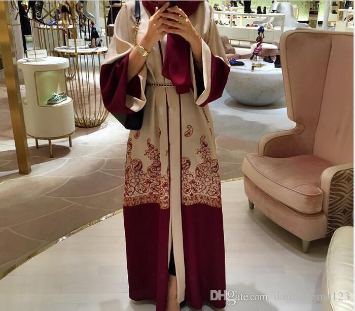 20pcs Shanel Women Muslim Abaya Printing Floral Coat Cardigan Leisure Long Dress M478
