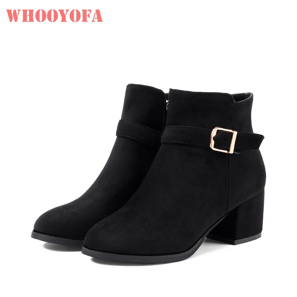 95e07f25788 Hot Brand New Winter Black Apricot Women Ankle Boots Lady Formal Shoes  Square High Heels WD853 Plus Big Small Size 10 32 43 45