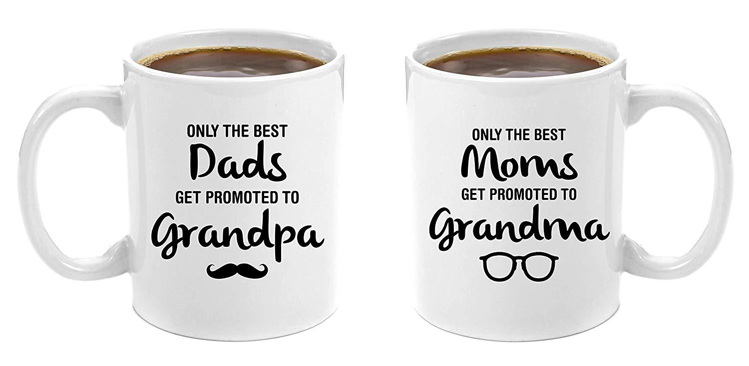 12147586913 The Best Dads Get Promoted to Grandpa & Best Moms Get Promoted to Grandma    Premium 11oz Coffee Mug Gift Set - Grandparents Day Gifts,