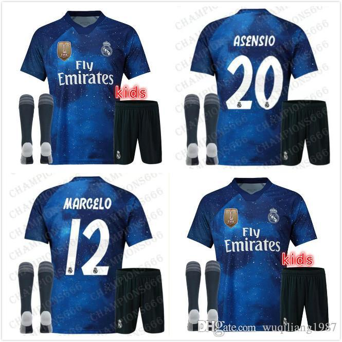 3ec176b56 2019 Kids Kit 19 20 EA Sports Real Madrid Blue 2019 RAMOS ASENSIO MODRIC  ISCO BALE Soccer Jerseys 2020 Camisetas Maillot Souvenir Game Version From  ...