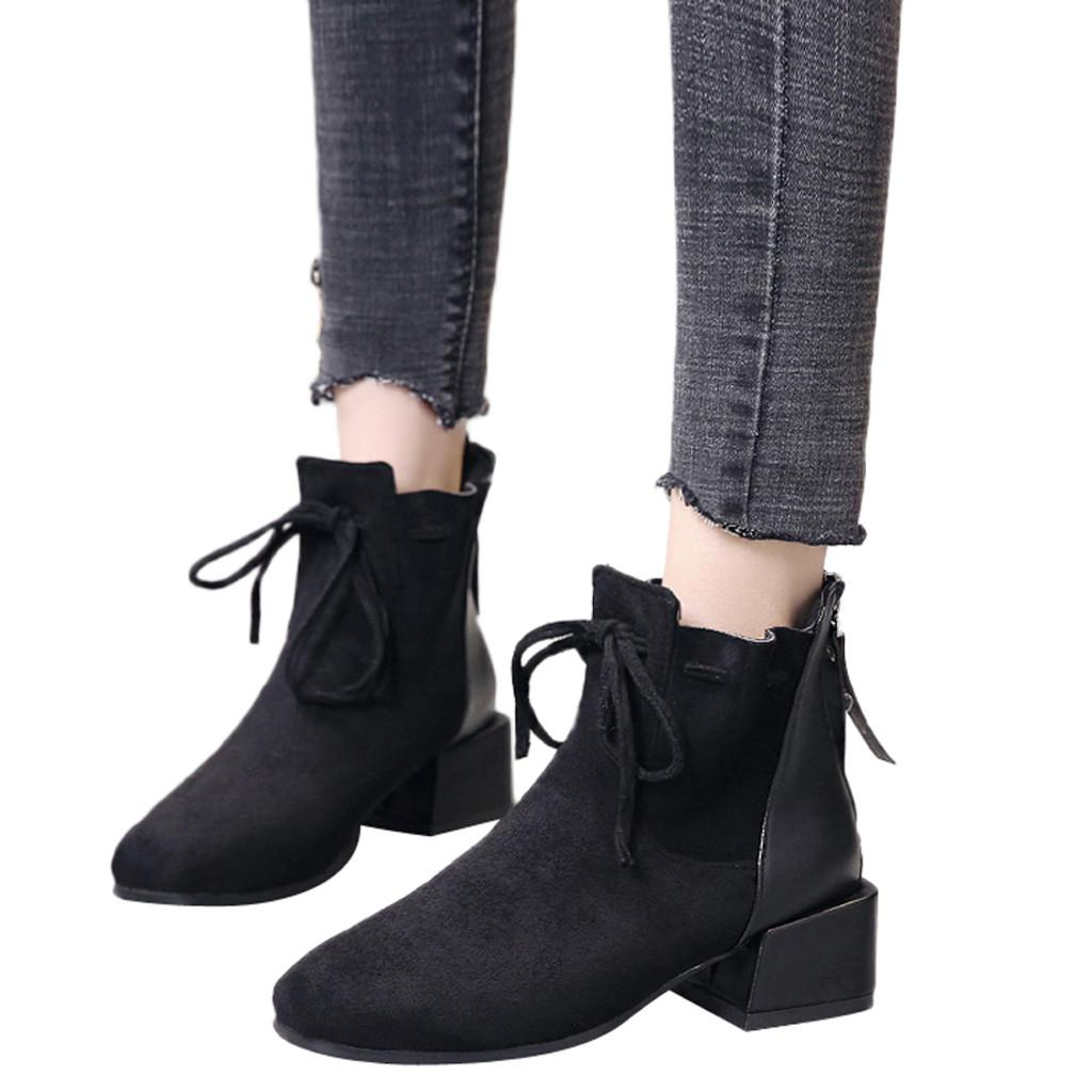 300b56cebc2 YOUYEDIAN Women Solid Color Lace Up Suede Boots Snow Boots Round Toe Square  Heel Shoes ankle for women #w35