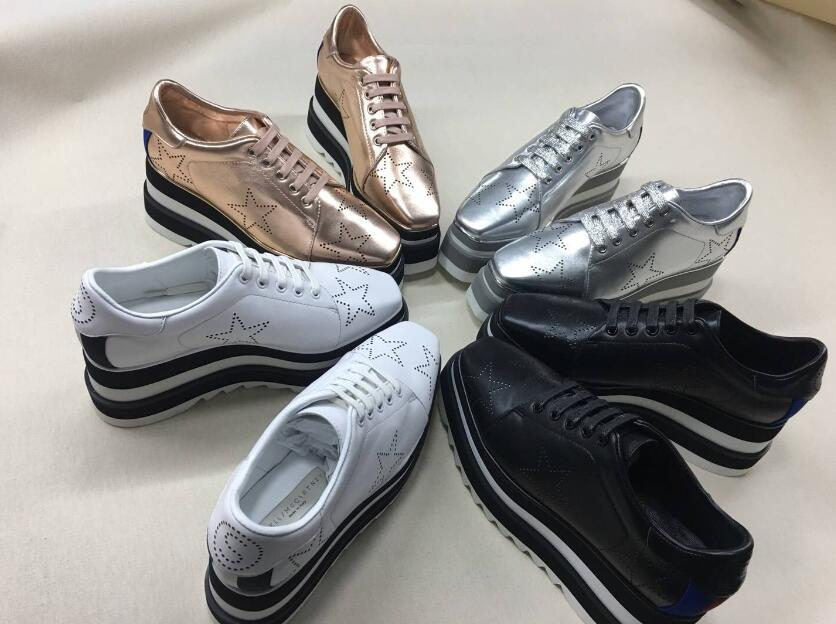 2018 NEW Stella Mccartney Womens Calfskin Genuine Leather Platform Casual Shoes Cut-outs Star Oxfords Stripes Wedge Elyse Lace-up Sneaker