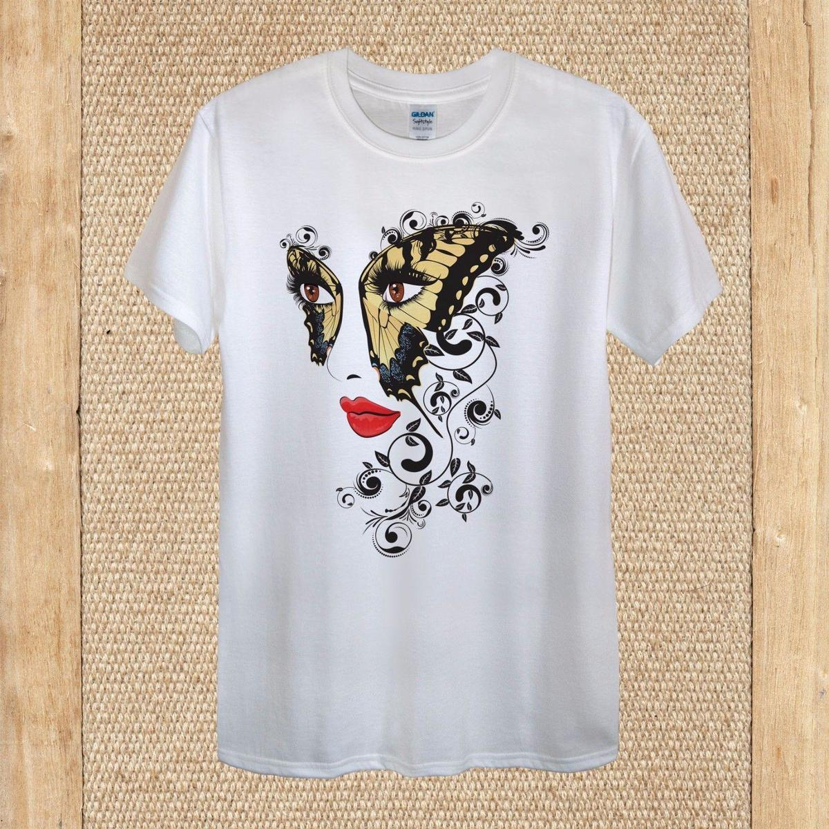 Grosshandel Floral Ornament Butterfly Girl Face T Shirt Design