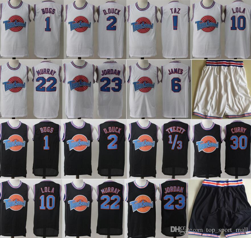 Space Jam Jersey Movie Tune Squad Looney Daffy Duck Bill Murray Lola Bugs Bunny TAZ Tweety Michael James Curry Basketball Shorts Black White