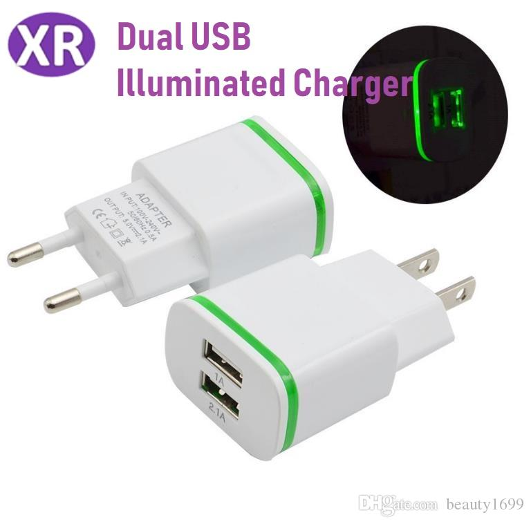Dual USB Light Charger 2 1A 5V IC Solution Smart Phone Tablet Universal  Travel Mobile Phone Adapter For Samsung Galaxy Note LG iPhone Tablet