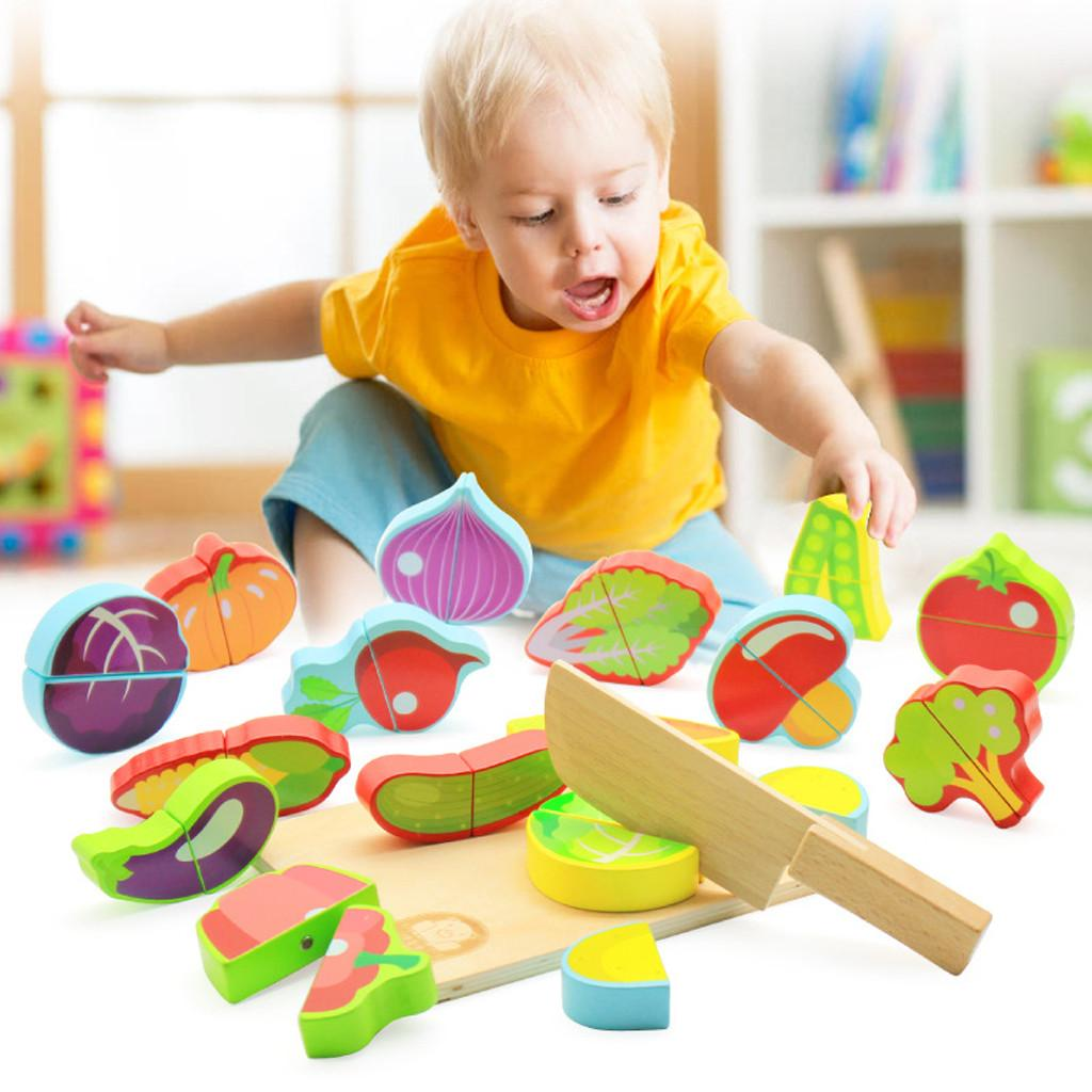 Children Kitchen Toys Wooden Fruit Vegetable Food Cutting Pretend Play Toys Set Food Kitchen Baby Classic Kids Educational Toys