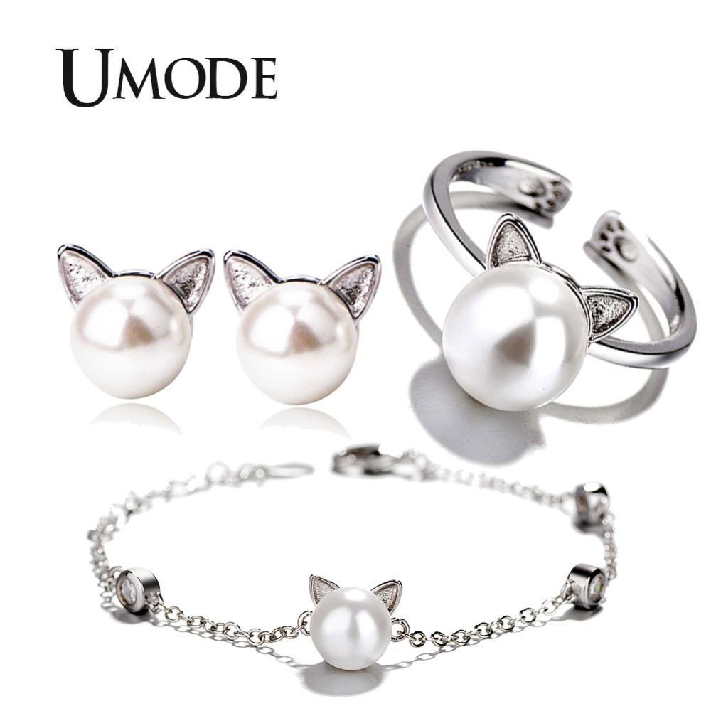 3bada0734 2019 UMODE Girls Kids Cute Cat Ear Pearl Stud Earrings Adjustable ...