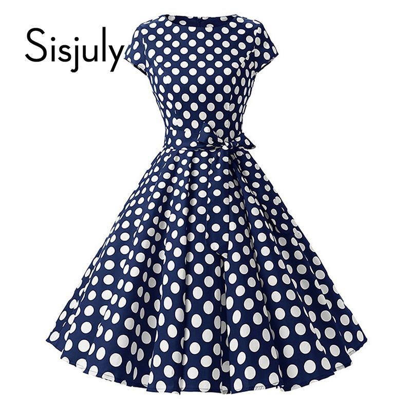 688c90d103174 Sisjuly 1950s Retro Dresses Women Polka Dots Bowknot A Line Pin Up Elegant  Tea Rockabilly Vintage Women Summer Short Dress 2018 Y19012201