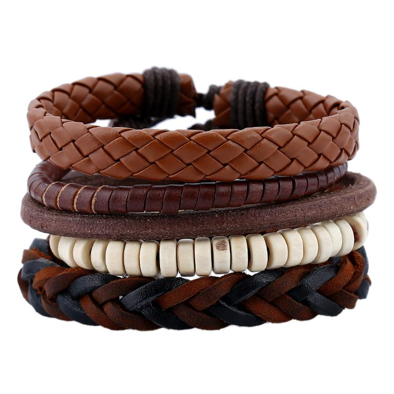 Braided Leather Bracelet Set For Male Leather Genuine Wrap Bangles 5pcs/lot Wood Beads Charm Bracelet Men Punk Jewelry